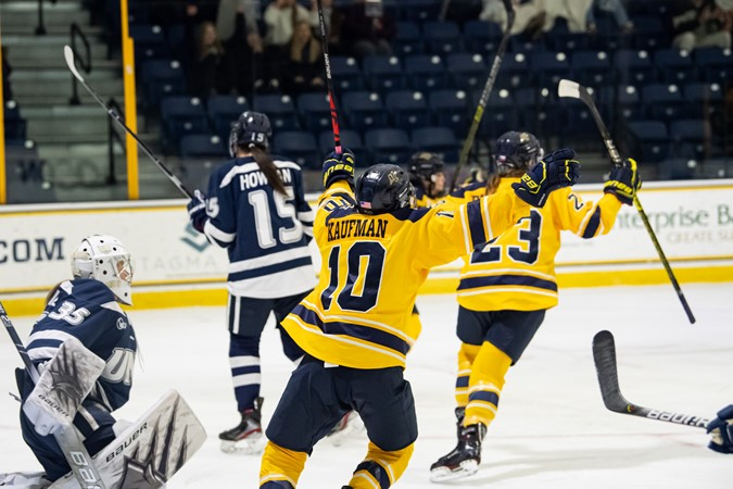 Demers Makes 27 Saves as Women's Ice Hockey Defeats UConn - Merrimack College Athletics